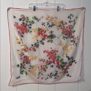 Vtg 50s/60s large floral nylon scarf